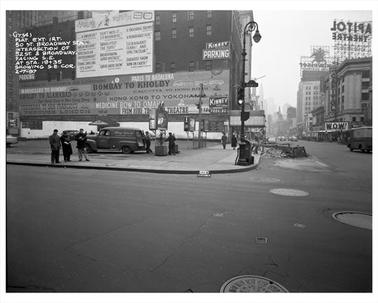 52nd Street & Broadway 1957 - Midtown Manhattan Old Vintage Photos and Images