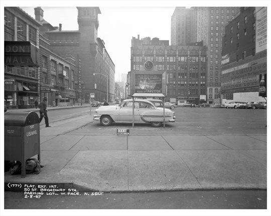 52nd Street & Broadway in front of Kinney Parking 1957  - Midtown Manhattan - New York, NY Old Vintage Photos and Images