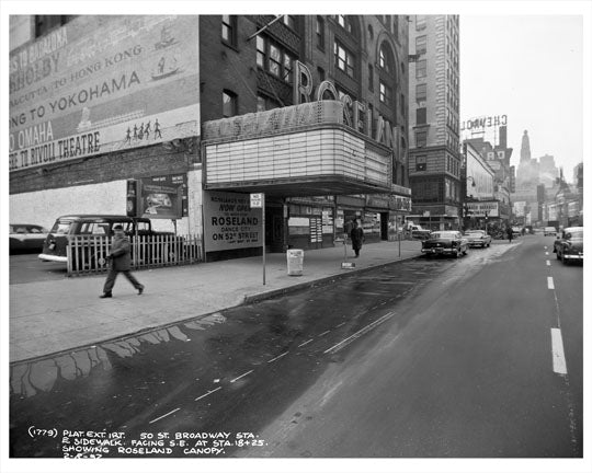 52nd Street & Broadway in front of Roseland Ballroom 1957  - Midtown Manhattan - New York, NY Old Vintage Photos and Images