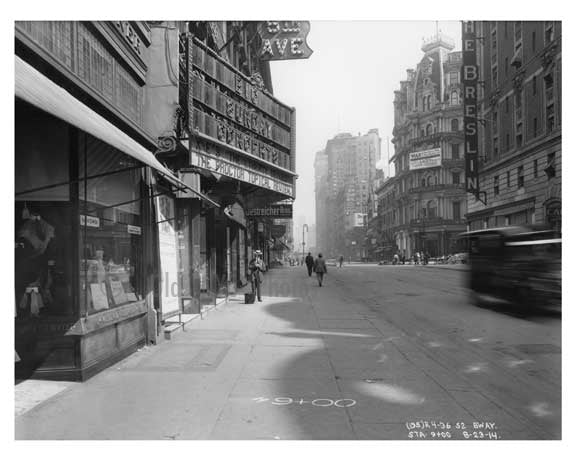 52nd Street & Broadway -  Midtown Manhattan  NY 1914 Old Vintage Photos and Images