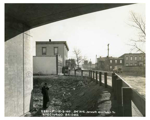 54th Avenue beneath the approach to Kosciusco Bridge - Maspeth Queens NYC Old Vintage Photos and Images