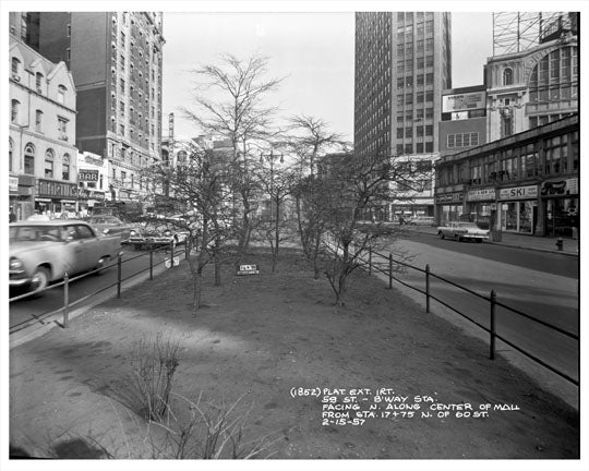 59th Street & Broadway Center Mall 1957 - Midtown West -  Manhattan - New York, NY Old Vintage Photos and Images
