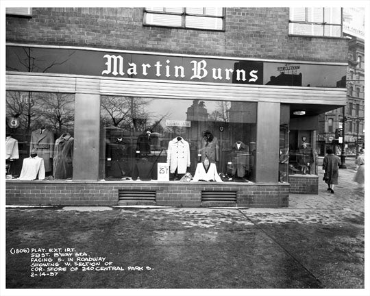 59th Street & Broadway in front of Martin Burns Storefront 1957  - Midtown Manhattan - New York, NY Old Vintage Photos and Images