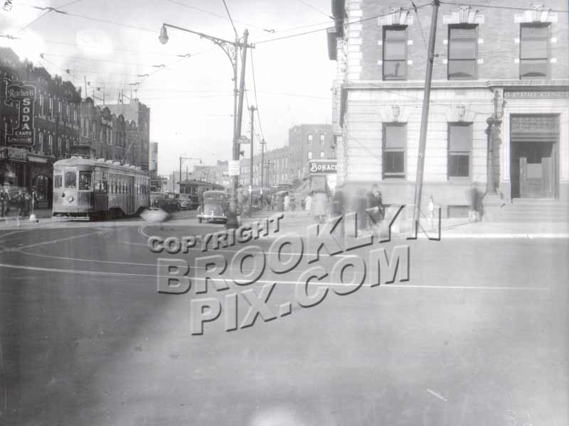5th Avenue at 86th Street, showing old 64th Precinct, 1940