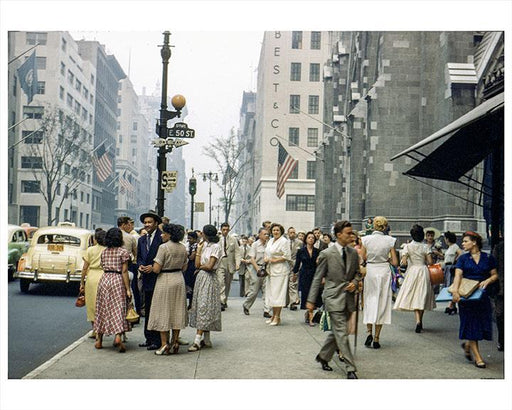 Old Vintage Photos of Manhattan 5th Avenue & 50th Street 1950s
