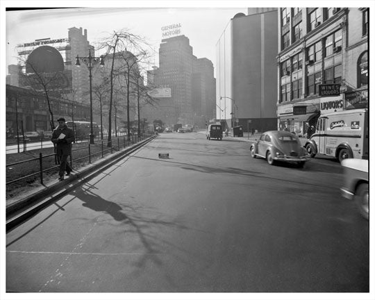60th Street & Broadway looking at General Motors 1957 - Upper West Side - Manhattan - New York, NY Old Vintage Photos and Images
