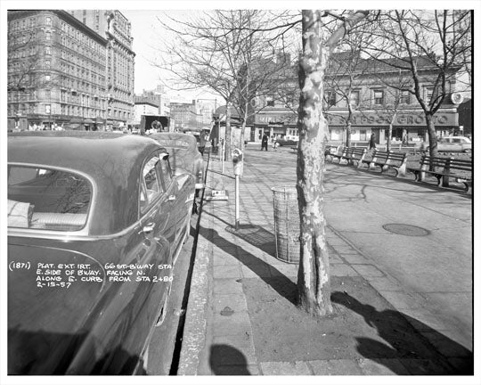 66th Street & Broadway by park 1957 - Upper West Side - Manhattan - New York, NY Old Vintage Photos and Images