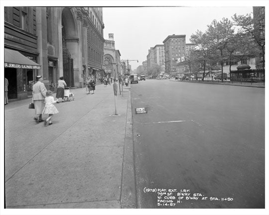 79th Street & Broadway looking at Central Mall 1957 - Upper West Side - Manhattan - New York, NY Old Vintage Photos and Images