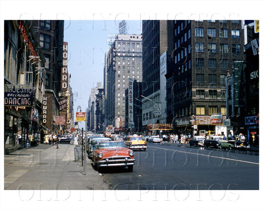 7th Ave Times Square Manhattan, NYC 1956 Old Vintage Photos and Images