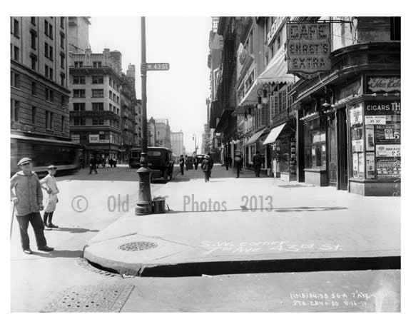 7th Avenue  & 43rd Street - Midtown - Manhattan  1914 Old Vintage Photos and Images