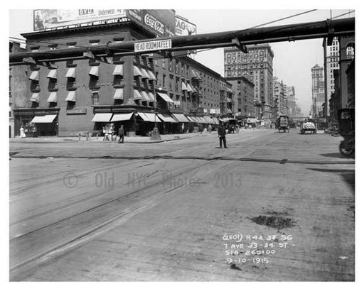 7th Avenue between 33rd & 34th Streets - Chelsea NY 1915 Old Vintage Photos and Images