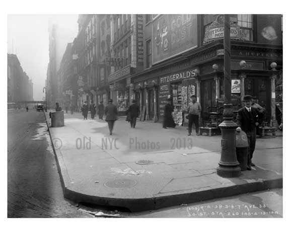 7th Avenue between 33rd& 34th Streets -  Midtown Manhattan 1914 A Old Vintage Photos and Images