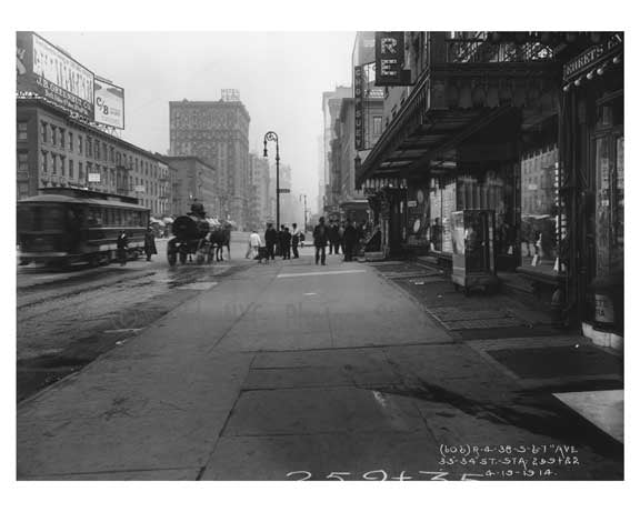 7th Avenue between 33rd& 34th Streets -  Midtown Manhattan 1914 B Old Vintage Photos and Images
