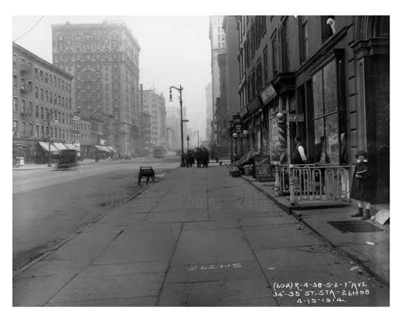 7th Avenue between 34th & 35th Streets -  Midtown Manhattan 1914 A Old Vintage Photos and Images