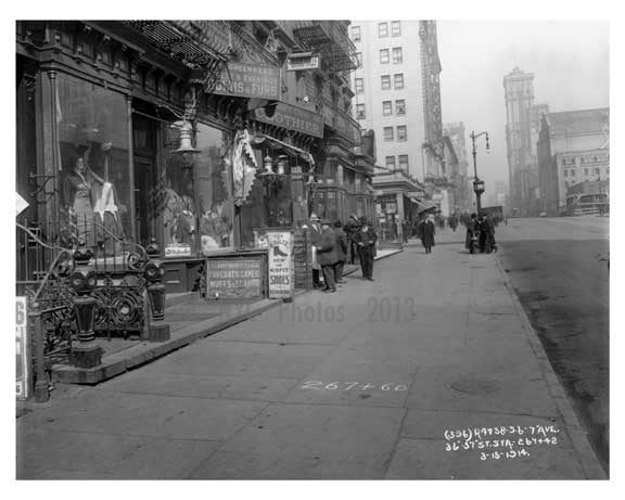7th Avenue between 36th & 37th Streets Midtown Manhattan 1914 A Old Vintage Photos and Images