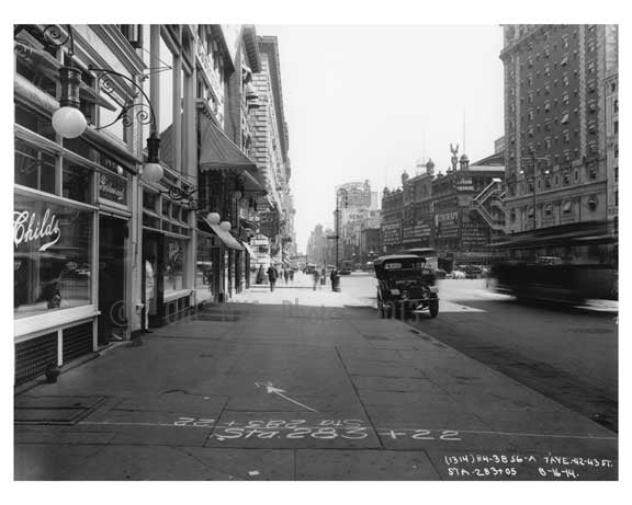 7th Avenue between 42nd & 43rd Street - Midtown - Manhattan  1914 Old Vintage Photos and Images