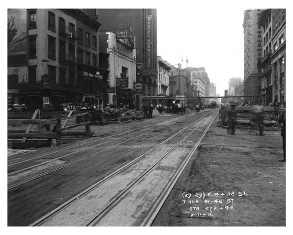 7th Avenue street view between 41st & 42nd Streets Hells Kitchen Manhattan 1916 Old Vintage Photos and Images