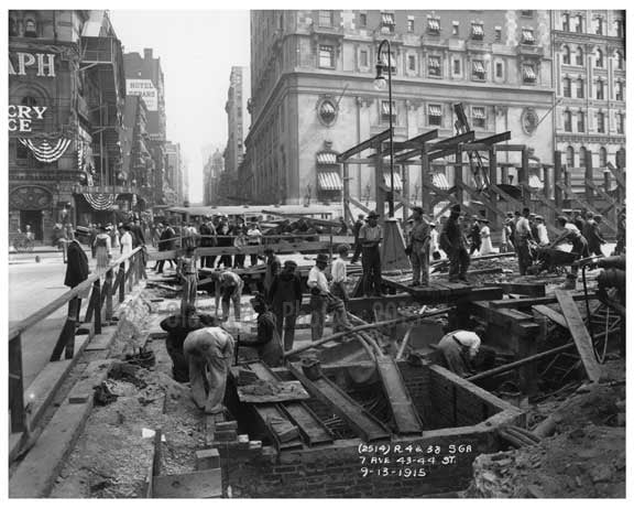 7th Avenue Street View between 43rd & 44th Streets 1915 Old Vintage Photos and Images