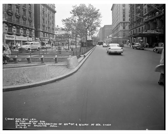 86th Street & Broadway looking at Hotel Bretton Hall 1957 - Upper West Side - Manhattan - New York, NY Old Vintage Photos and Images