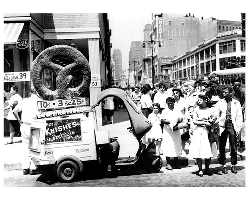 Pretzel & Knish Vendor on Fulton Street, Brooklyn - 1959