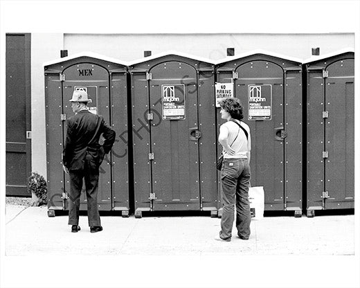 Bathrooms waiting porta potty 1970 Manhattan