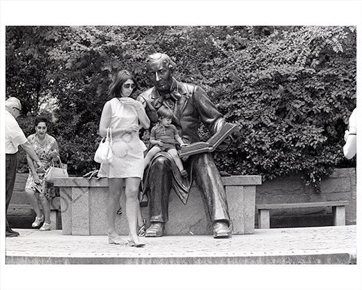 Boy on reader statue Hans Christian Andersen 1970 Manhattan