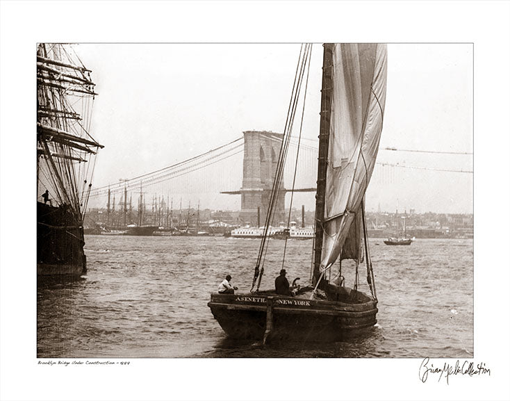View of Brooklyn Bridge under construction from river, 1877