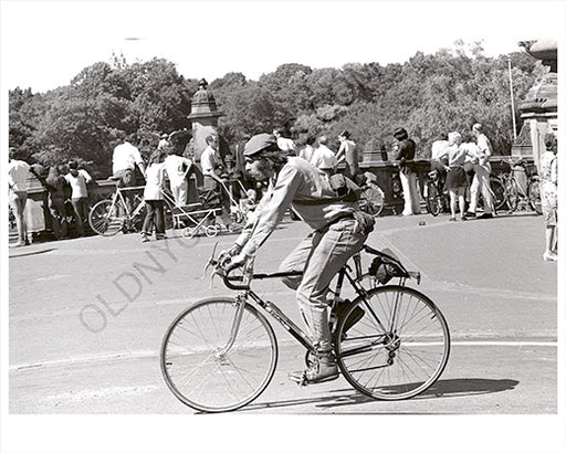 Central Park cycle bike rider 1970s