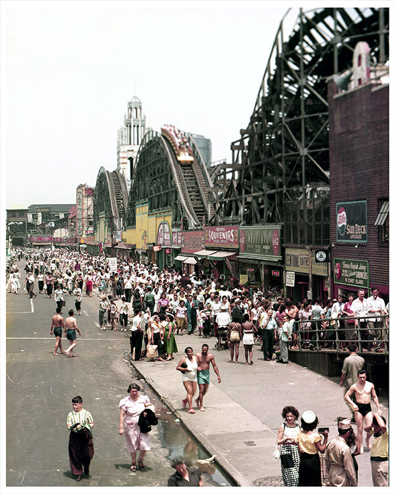 Coney Island Brooklyn Boardwalk & Roller Coaster - 1951
