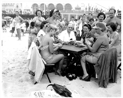 Coney Island Card Game On The Beach, Brooklyn - 1950s