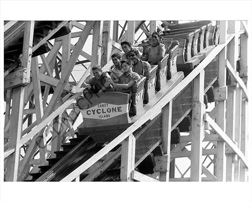 Cyclone roller coaster Coney Island 1970