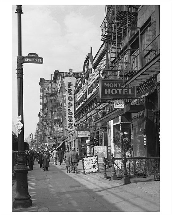 East Side of Bowery,  Peoples Theater Chinatown 1934