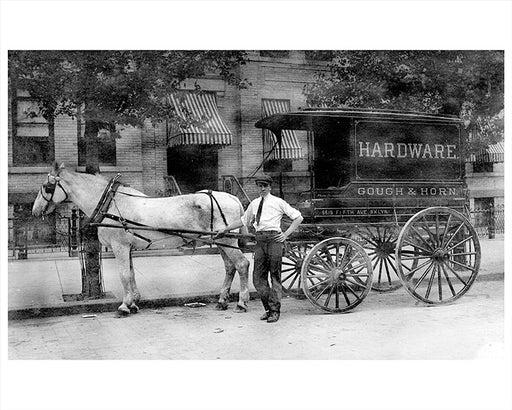 Horse Drawn Wagon Gough & Horn 5519 5th Ave Sunset Park Brooklyn 1910