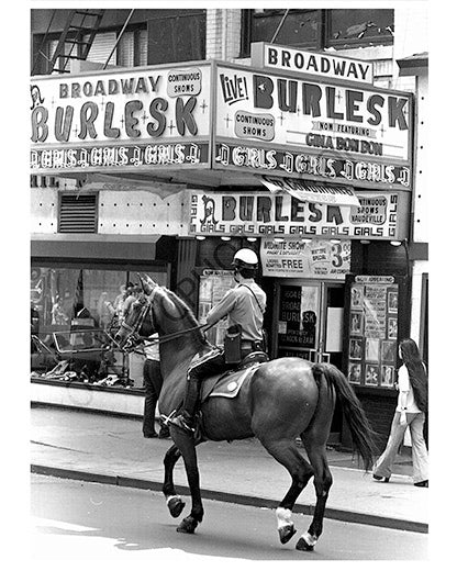 Horseback Police next to Burlesk Theater, New York City - 1970s