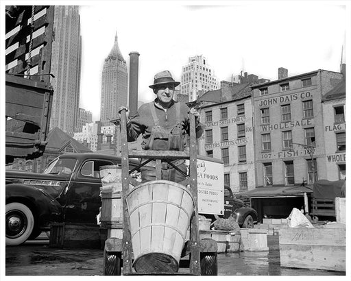 New York City Stevedore Crates Fish, Lower East Side NYC - 1943