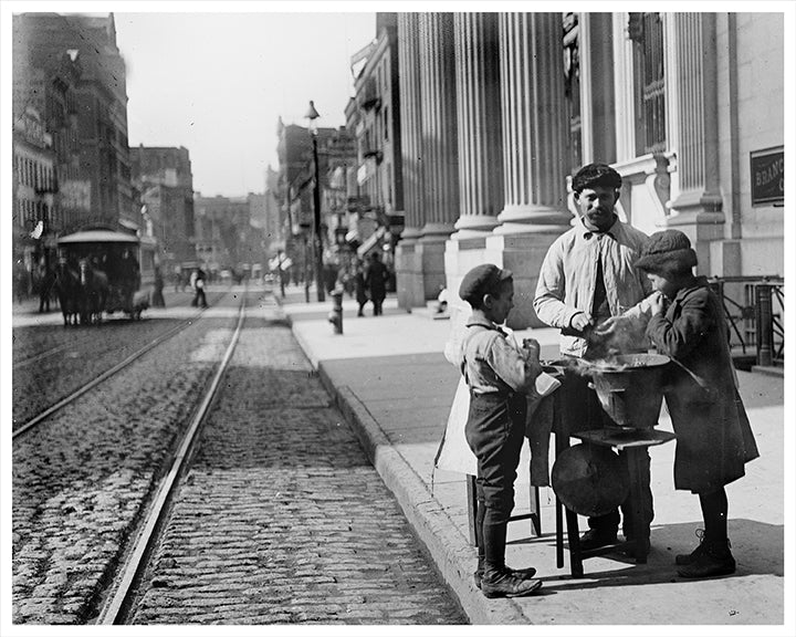 Peanut Vendor with Kids, NYC Manhattan 42nd Street - 1900