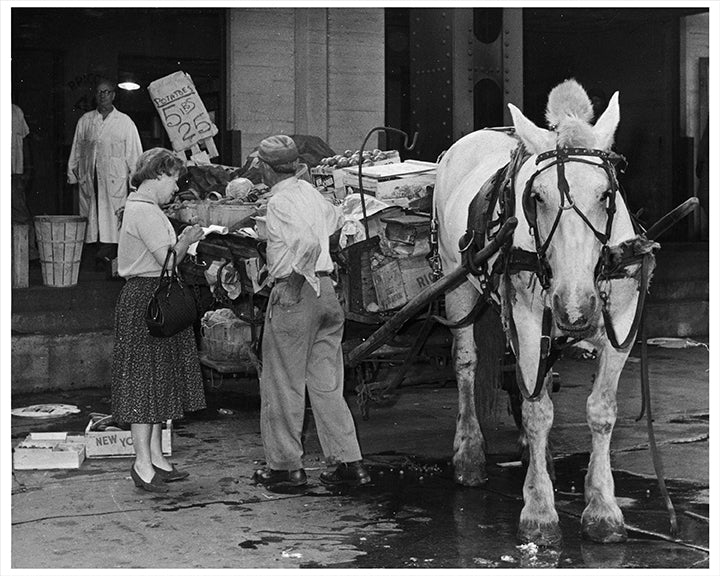 Produce Vendor Horse-Drawn Cart at Washington Market, New York City - 1960