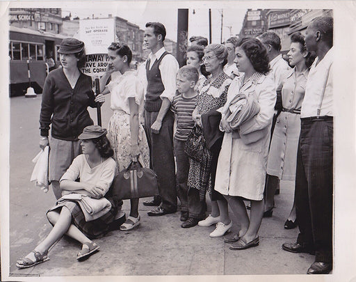 Waiting at The Junction for the Green Line Bus to Rockaway, Flatlands - 1945
