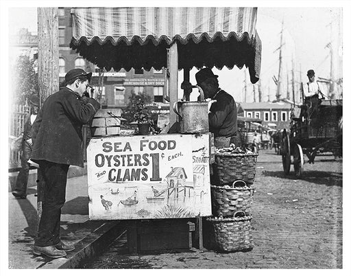 Oysters & Clams for 1 cent, Dry Dock NYC - 1910