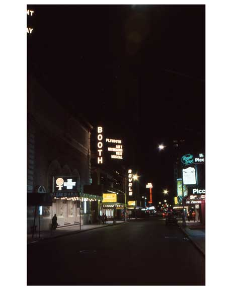 A Night time view of the Theater District 1970s Manhattan Old Vintage Photos and Images