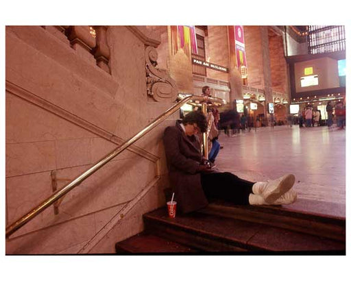 A sleepy commuter - Inside Grand Central Station 1988 Old Vintage Photos and Images