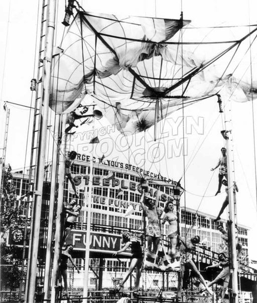Acrobatic Show at the Parachute Jump, Steeplechase Park, 1940s Old Vintage Photos and Images