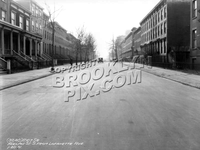 Adelphi Street south from Lafayette Avenue, 1931 Old Vintage Photos and Images