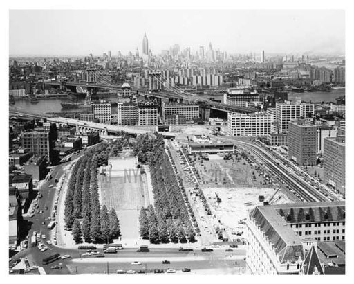 Aerial shot of NYC from Brooklyn - Manhattan Bridge - Manhattan Skyline in the background Empire State Building in sight  New York, NY Old Vintage Photos and Images