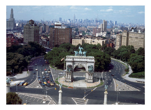 Aerial View looking north from Grand Army Plaza toward Manhattan' sskyline 1974 Old Vintage Photos and Images