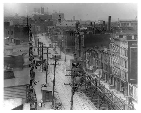 Aerial View Metropolitan Ave - Williamsburg - Brooklyn, NY 1917 Q2 Old Vintage Photos and Images