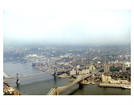 Aerial view of Brooklyn Bridge Manhattan bridge Old Vintage Photos and Images