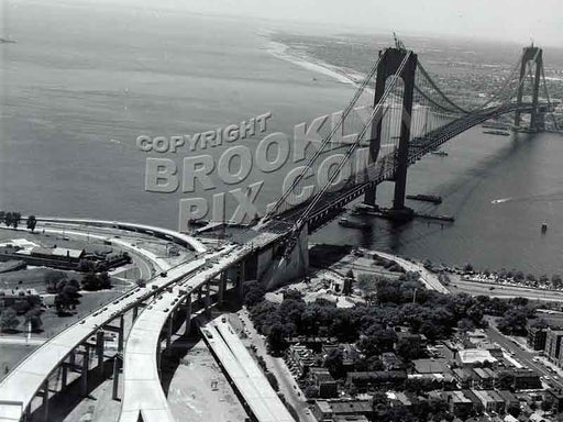 Aerial view of Fort Hamilton and Verrazano-Narrows Bridge near completion in 1964 Old Vintage Photos and Images