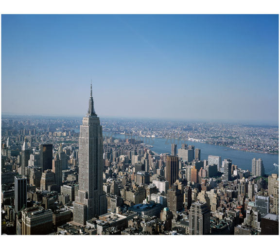 Aerial view of Lower Manhattan with the the Empire State Building Old Vintage Photos and Images