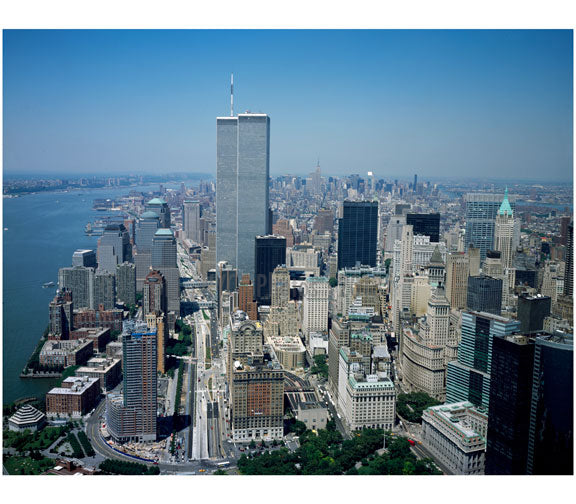 Aerial view of Lower Manhattan with the Twin Towers A Old Vintage Photos and Images